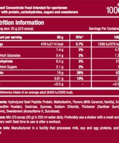 جدول ارزش غذایی مکمل پروتئین سایتک نوتریشن
