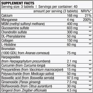 جدول ارزش غذایی جوینت ساپورت آرترو گارد بایوتک
