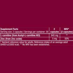 جدول ارزش غذایی ال کارنیتین ای ال سی بایوتک