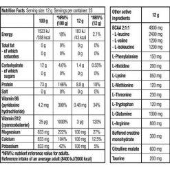 جدول ارزش غذایی آمینو اسنشیال بایوتک
