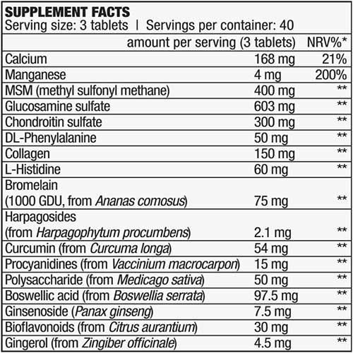 جدول ارزش غذایی گلوکزامین آرترو گارد بایوتک