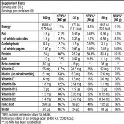 جدول ارزش غذایی پروتئین بیف بایوتک
