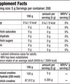جدول ارزش غذایی کراتین 100% مونوهیدرات بایوتک