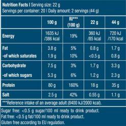 جدول ارزش غذایی پروتئین هیدرو وی زیرو بایوتک