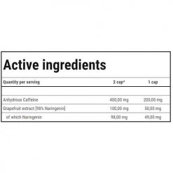 جدول ارزش غذایی کافئین 200 پلاس ترک نوتریشن