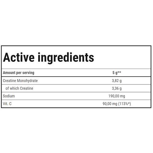 جدول ارزش غذایی کراتین 100% ترک نوتریشن