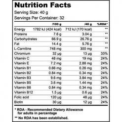 جدول ارزش غذایی گو انرژی بار بایوتک