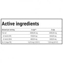 جدول ارزش غذایی سوپر امگا-3 ترک نوتریشن