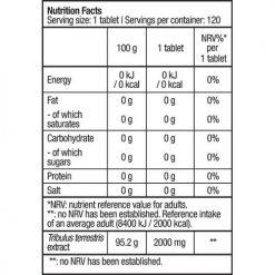جدول ارزش غذایی تستسترون بوستر تریبوستر بایوتک