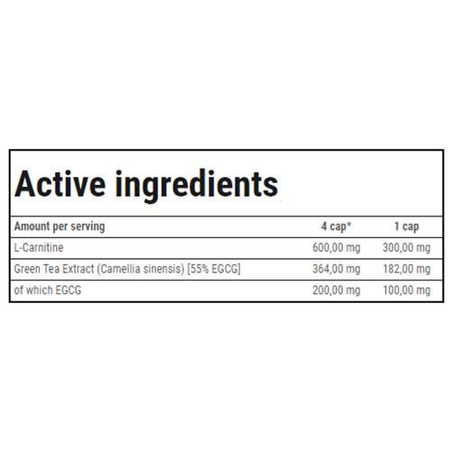 جدول ارزش غذایی ال-کارنیتین+گرین تی ترک نوتریشن