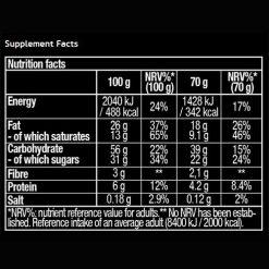 جدول ارزش غذایی اوت & ناتس بار بایوتک