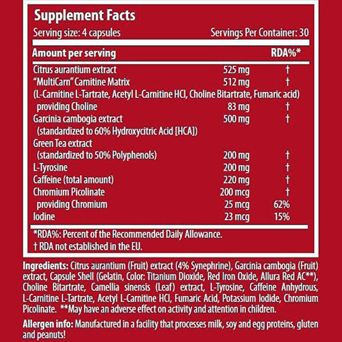 جدول ارزش غذایی فت برنر pfx سایتک نوتریشن