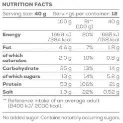 جدول ارزش غذایی پنکیک پروتئین گوستو لاین بایوتک