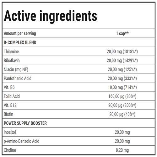 جدول ارزش غذایی ویتامین B کامپلکس ترک نوتریشن