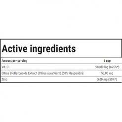 جدول ارزش غذایی ویتامین سی استرانگ 500 ترک نوتریشن