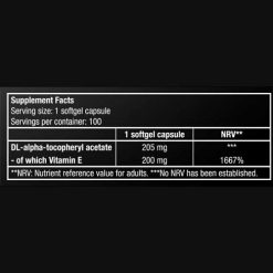 جدول ارزش غذایی ویتامین E بایوتک