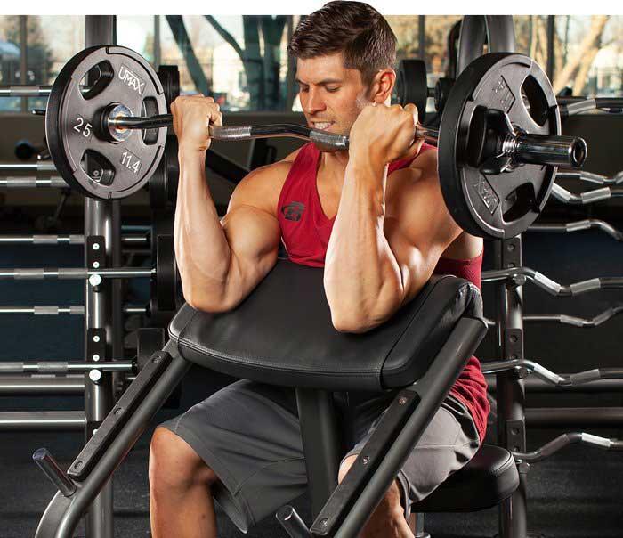 تمرین جلو بازو دمبل لاری