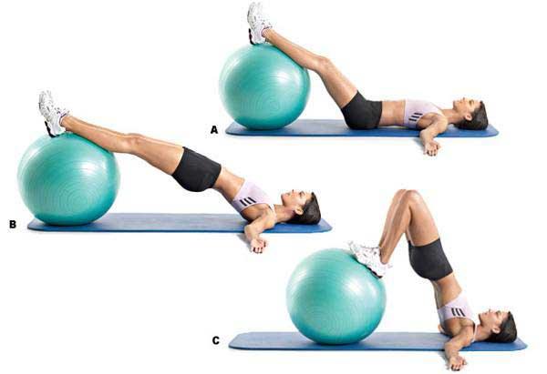 تقویت عضلات مرکزی بدن : انجام تمرینات ثابت با استفاده از توپ ورزشی