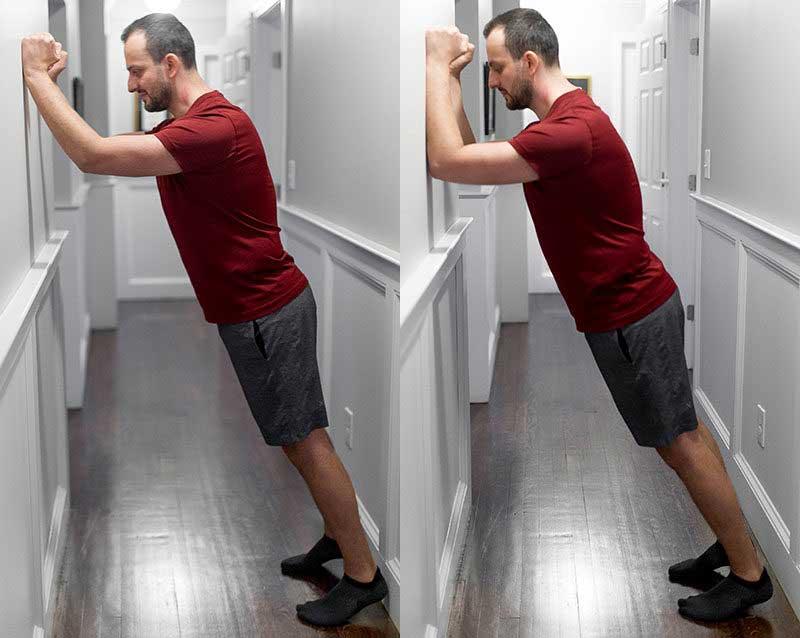 تمرینات ایزومتریک : فشار پشت بازو روی دیوار