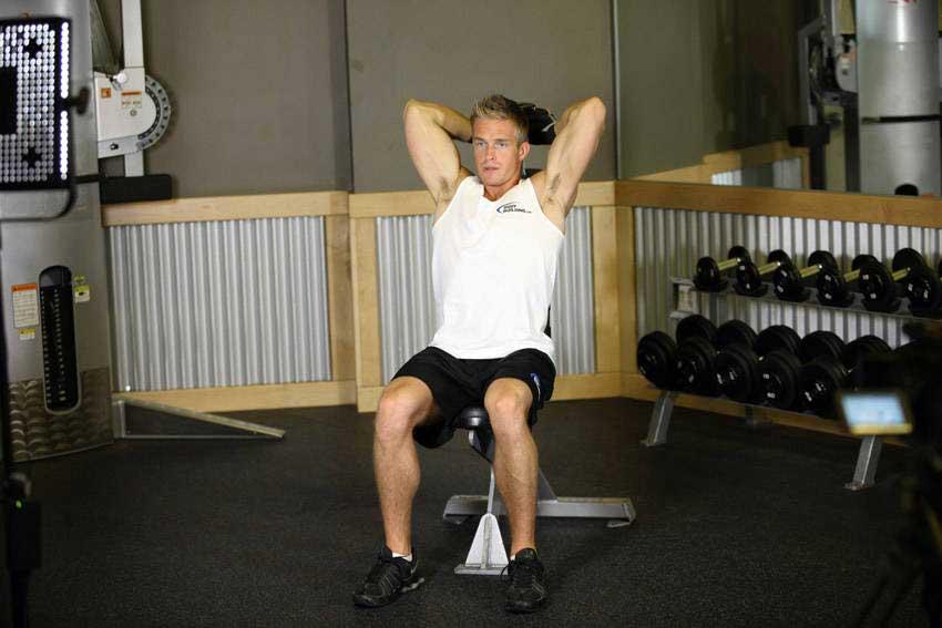حرکت پرس پشت بازو دمبل نشسته