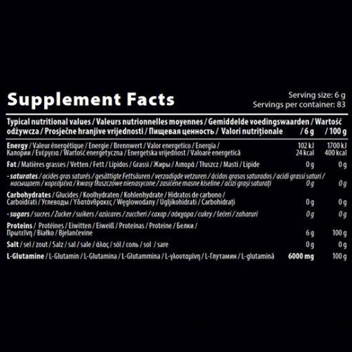 اجزای تشکیل دهنده ال-گلوتامین 6000 کیو ان تی